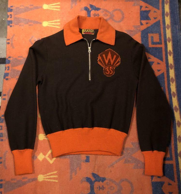 画像1: 35's Wool Half Zip Sweat  Set Up  ブラウン×オレンジ (1)