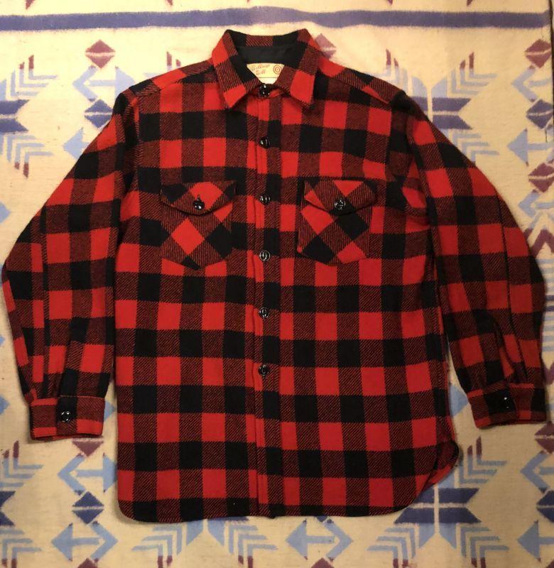画像1: 40s Wool Shirt  Size 15 (1)