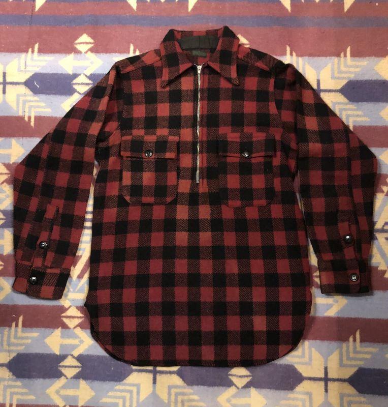 画像1: 3~40s Montgomery Ward  Half Zip  Wool Shirt (1)